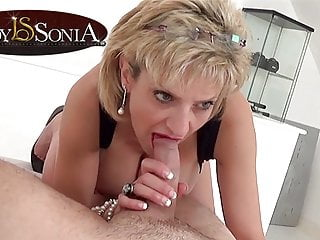 Blonde Blowjob Big Tits video: Lady Sonia giving a sensual handjob and blowjob