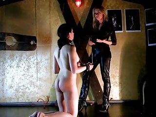 Femdom Slave Whipping video: Italian Lezdom - Whipping and face slapping