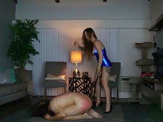 Bdsm Femdom porno: The beautiful Goddess Harley whipping a slave