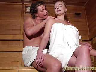 Blonde Big Cock Lesbian video: Dane Jones Busty blonde minx in sexy sauna seduction suck an