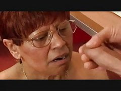 Granny in Glasses Satisfies a Cock