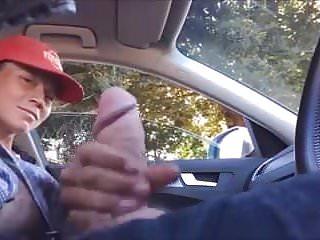 Dickflash Teen hitch hiker jerks off driver
