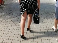 Hot MILF walking in tight skirt and high heels