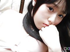 Shy Japanese teen teasing us with her creamy body