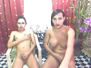 Two Tranny Friends Cocks Jerking on Webcam
