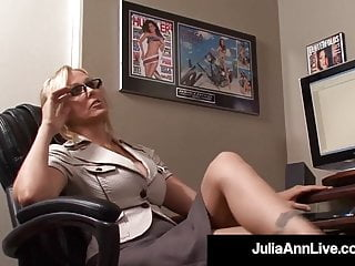 Pov Blonde Blowjob video: Office Milf Julia Ann Sucks On Her Co Worker's Cock At Work!