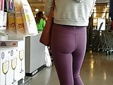 Candid Blonde in purple yoga pants