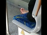 Candid girl in the train whit pink toes and faceshot
