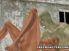 Busty 3D Brünette saugt einen Zombie-Hahn
