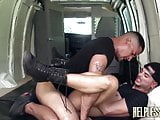 Bound gay mouth ready for big cock before anal