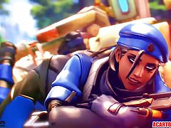 Ana Amari from Overwatch gets pussy hammered Compilation