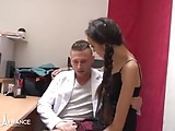 Petite french brunette hard fucked by her classmate