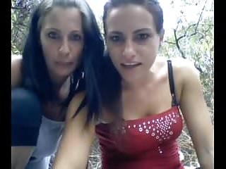 .Two camgirls outdoor picnic fun.