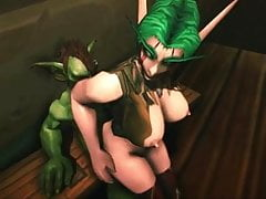 Whorecraft Night Elf in retromarcia gallo scena goblin