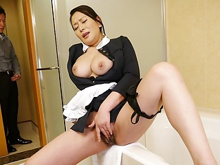 Asian Japanese Fingering video: Japanese maid, Rei Kitajima was caught masturbating at work,