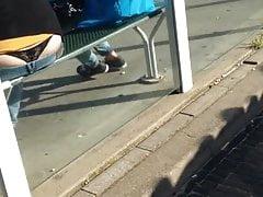 see thong at the bus stop
