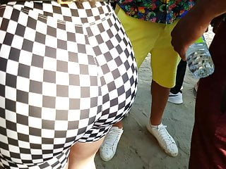 Babe Latina Ballbusting video: Candid Phat ass on Latina in checkered leggingss!!