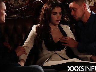 Big Cock Handjob Threesome video: Classy stunner sharing two big dicks in erotic threesome