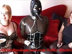 CBT Tea Party PUBLIC FemDom Rubber Strait Jacket Mistress