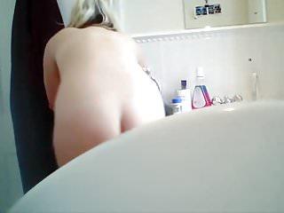 Soft bodied blonde, bathroom hidden cam