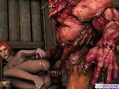 Hot Triss Pummeled By Phat Manmeat Alien