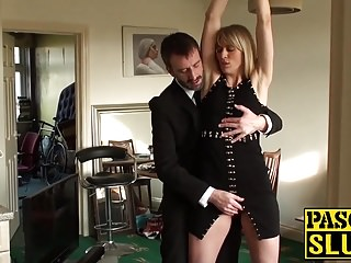 Blondes Spanking Small Tits video: Face fucked milf BDSM sex slave swallows his warm cock juice