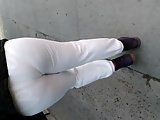 Creep shot, pt.3 white see-thru sweats