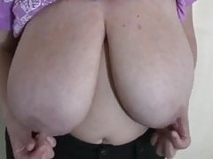 Big Tits in Purple Shirt