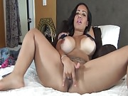 Hot & Sexy Ebony vs Dildo on Cam ( 2 )