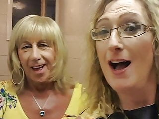 Essex Girl Lisa and Tgirl Pauline in the club toilets