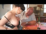 Two old guys grops two girls