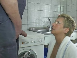 Blonde Milf Mature video: Angie German housewife pissing in kitchen