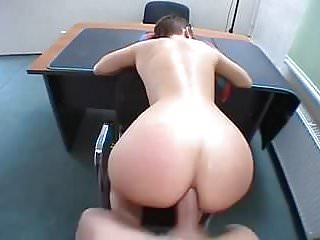 .Shorthaired Brunette Gets Her Ass Reamed.