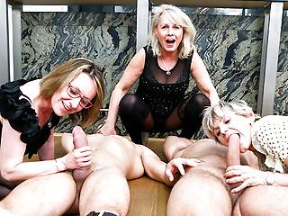 Hardcore Blowjob xxx: 3 grannies 2 young cocks