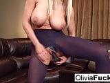 Olivia Austin plays with a big dildo