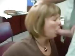 Office milf sucking cock