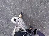 PoV walking in a long satin skirt