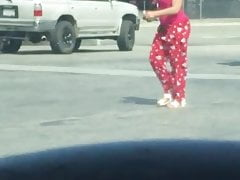 Big ghetto booty girl in pajamas