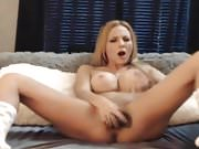 Gorgeous Busty Blonde Babe Toying Her Wet Pussy