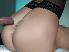 SPORTY TEEN GIRL IN STOCKINGS TAKES BWC Cum on her Wet Pussy