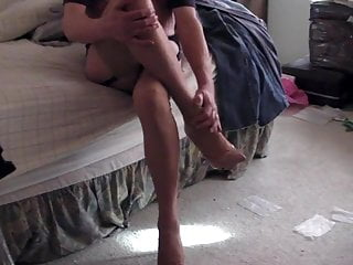 FF stockings, pink heels, only one cum :(