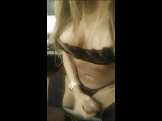 Shemale jerk off and cum...