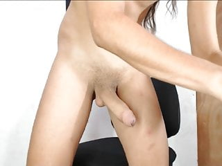 shemale using 2 hands to jerk her cockHD Sex Videos