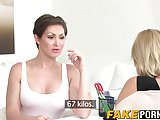Hot female agent tries out a fresh lesbian babe on the sofa