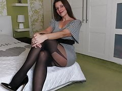 MILF Kat in secretary stockings and heels 2