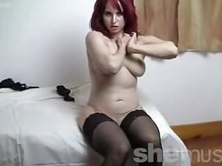 Fit redhead ass in stockings high heels...