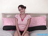 Petite debutante stroking dick on her knees