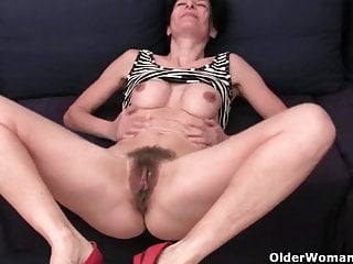Hairy granny has a wet spot in her...