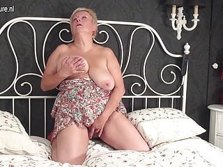 And busty granny with toy...