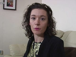 Uk mother with dildo on couch...